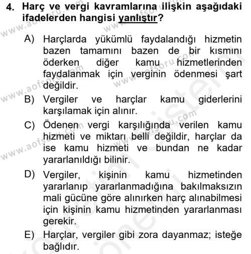 Damga Vergisi Ve Harçlar Bilgisi Dersi 2017 - 2018 Yılı (Final) Dönem Sonu Sınavı 4. Soru