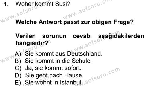 Almanca 1 Dersi 2012 - 2013 Yılı Ara Sınavı 1. Soru