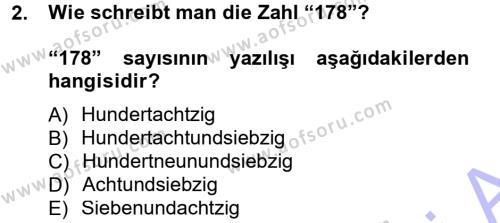 Yerel Yönetimler Bölümü 1. Yarıyıl Almanca I Dersi 2013 Yılı Güz Dönemi Dönem Sonu Sınavı 2. Soru