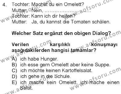 Almanca 1 Dersi 2012 - 2013 Yılı Tek Ders Sınavı 4. Soru