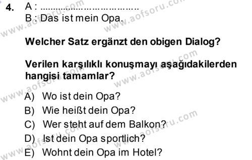 Almanca 1 Dersi 2013 - 2014 Yılı Ara Sınavı 4. Soru