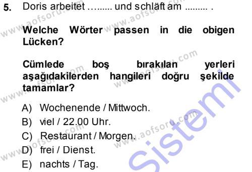 Almanca 1 Dersi Ara Sınavı Deneme Sınav Soruları 5. Soru