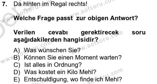 Almanca 1 Dersi Tek Ders Sınavı Deneme Sınav Soruları 7. Soru