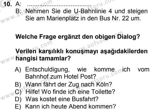 Almanca 1 Dersi 2014 - 2015 Yılı Tek Ders Sınavı 10. Soru