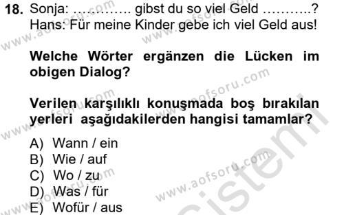 Almanca 1 Dersi 2014 - 2015 Yılı Tek Ders Sınavı 18. Soru 1. Soru