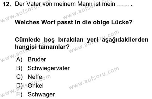 Almanca 1 Dersi Ara Sınavı Deneme Sınav Soruları 12. Soru