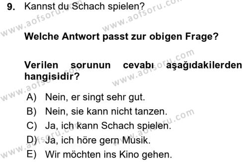 Almanca 1 Dersi Ara Sınavı Deneme Sınav Soruları 9. Soru