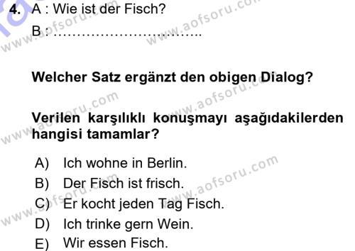 Almanca 1 Dersi 2015 - 2016 Yılı Dönem Sonu Sınavı 4. Soru