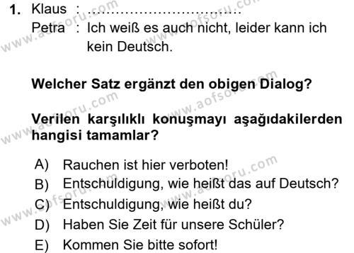 Almanca 1 Dersi 2015 - 2016 Yılı Tek Ders Sınavı 1. Soru