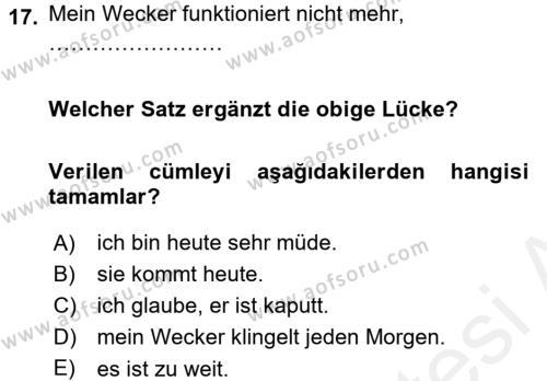 Almanca 1 Dersi Tek Ders Sınavı Deneme Sınav Soruları 17. Soru