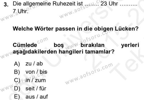 Almanca 1 Dersi 2015 - 2016 Yılı Tek Ders Sınavı 3. Soru