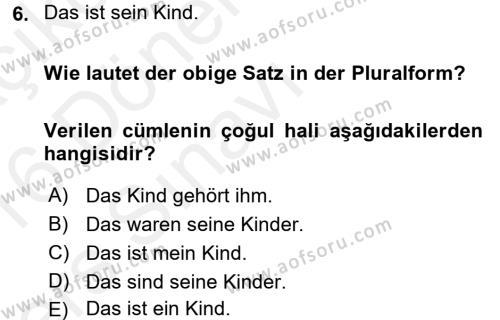 Almanca 1 Dersi Tek Ders Sınavı Deneme Sınav Soruları 6. Soru