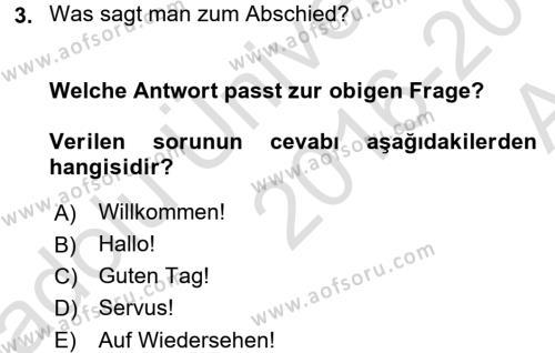 Almanca 1 Dersi 2016 - 2017 Yılı Ara Sınavı 3. Soru