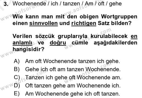Almanca 1 Dersi 2016 - 2017 Yılı Dönem Sonu Sınavı 3. Soru