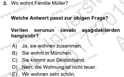 Almanca 1 Dersi 2017 - 2018 Yılı Ara Sınavı 3. Soru