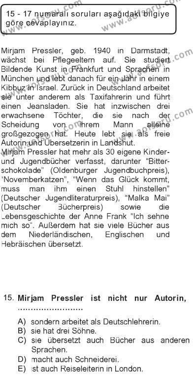 Almanca 2 Dersi 2012 - 2013 Yılı Tek Ders Sınavı 15. Soru 1. Soru