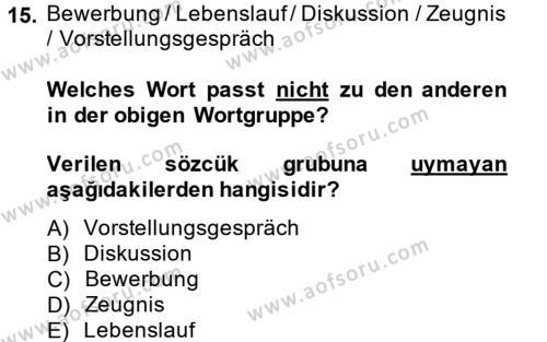 Almanca 2 Dersi Ara Sınavı Deneme Sınav Soruları 15. Soru