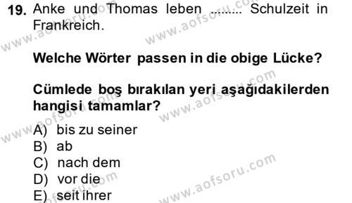 Almanca 2 Dersi Ara Sınavı Deneme Sınav Soruları 19. Soru