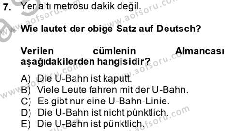 Almanca 2 Dersi Ara Sınavı Deneme Sınav Soruları 7. Soru