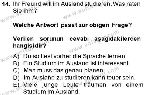 Almanca 2 Dersi Tek Ders Sınavı Deneme Sınav Soruları 14. Soru