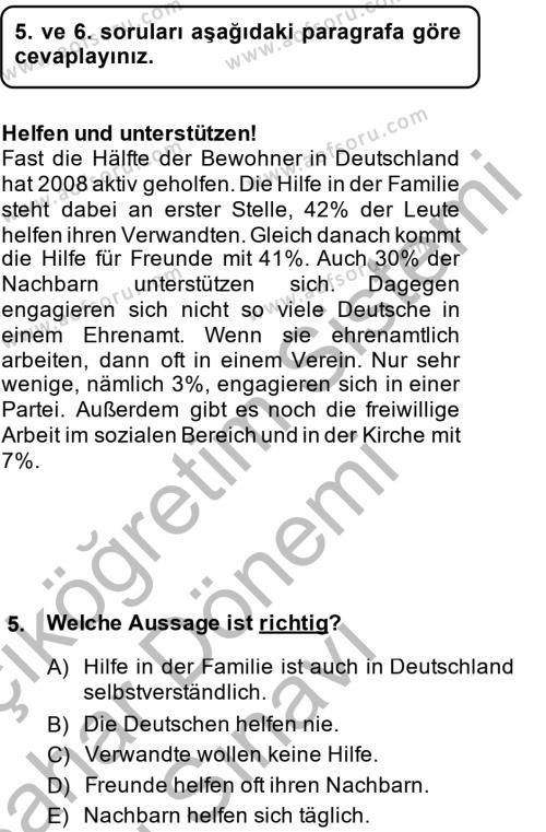 İşletme Yönetimi Bölümü 2. Yarıyıl Almanca II Dersi 2015 Yılı Bahar Dönemi Dönem Sonu Sınavı 5. Soru