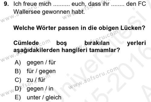 Almanca 2 Dersi Ara Sınavı Deneme Sınav Soruları 9. Soru
