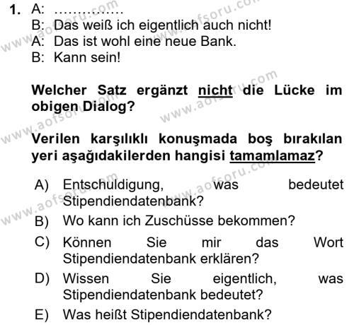 Almanca 2 Dersi 2015 - 2016 Yılı Tek Ders Sınavı 1. Soru
