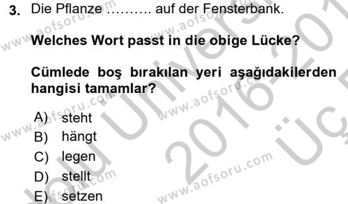 Almanca 2 Dersi 2016 - 2017 Yılı 3 Ders Sınavı 3. Soru