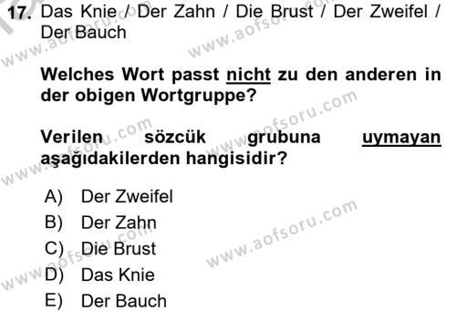 Almanca 2 Dersi 2016 - 2017 Yılı Ara Sınavı 17. Soru 1. Soru