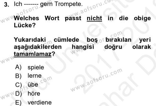 Almanca 2 Dersi 2017 - 2018 Yılı Ara Sınavı 3. Soru