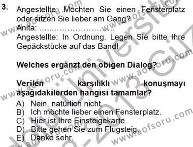 Turizm İçin Almanca 1 Dersi Ara Sınavı Deneme Sınav Soruları 3. Soru