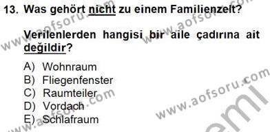 Turizm İçin Almanca 2 Dersi Ara Sınavı Deneme Sınav Soruları 13. Soru