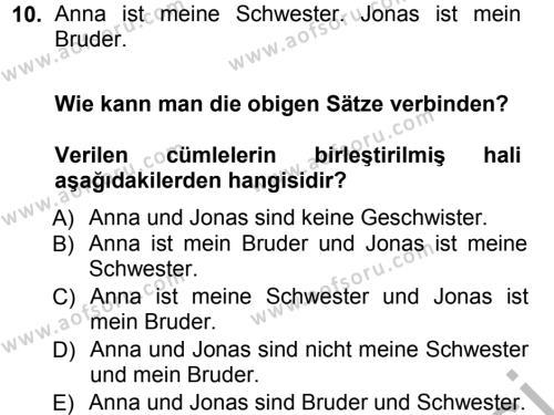Almanca 1 Dersi Ara Sınavı Deneme Sınav Soruları 10. Soru