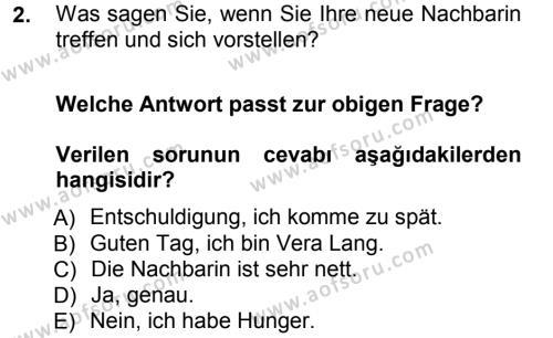 Almanca 1 Dersi 2012 - 2013 Yılı Ara Sınavı 2. Soru