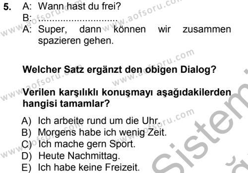 Tarih Bölümü 5. Yarıyıl Almanca I Dersi 2013 Yılı Güz Dönemi Ara Sınavı 5. Soru
