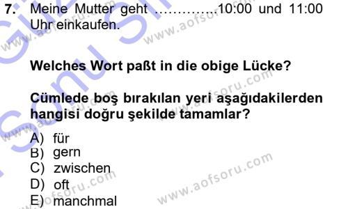 Almanca 1 Dersi Dönem Sonu Sınavı Deneme Sınav Soruları 7. Soru