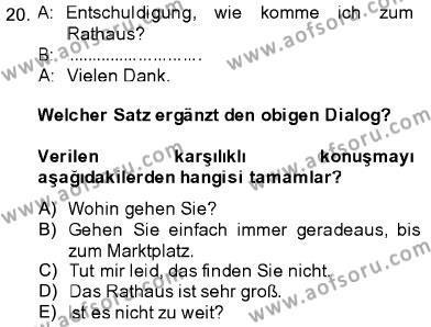 Almanca 1 Dersi Ara Sınavı Deneme Sınav Soruları 20. Soru