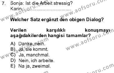 Almanca 1 Dersi Ara Sınavı Deneme Sınav Soruları 7. Soru