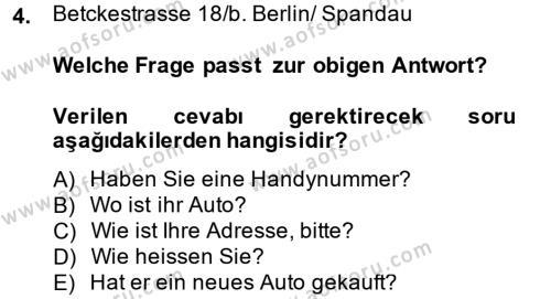 Almanca 1 Dersi 2014 - 2015 Yılı Ara Sınavı 4. Soru