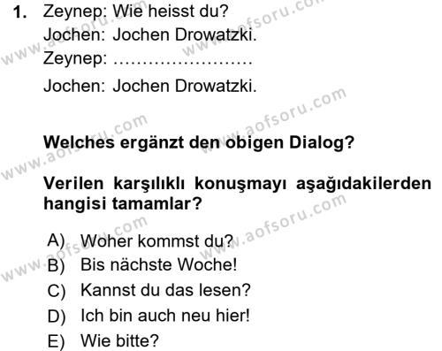 Almanca 1 Dersi 2015 - 2016 Yılı Ara Sınavı 1. Soru