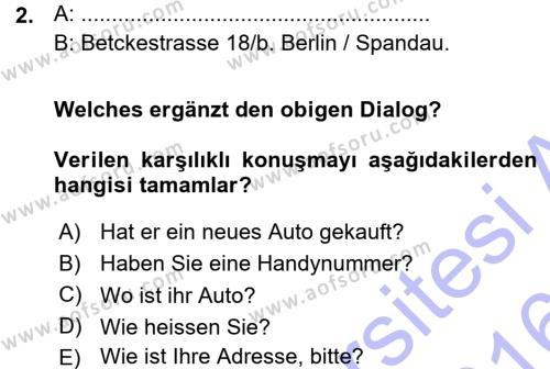 Almanca 1 Dersi 2015 - 2016 Yılı Ara Sınavı 2. Soru