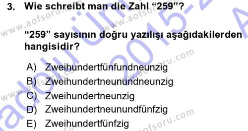 Konaklama İşletmeciliği Bölümü 5. Yarıyıl Almanca I Dersi 2016 Yılı Güz Dönemi Ara Sınavı 3. Soru