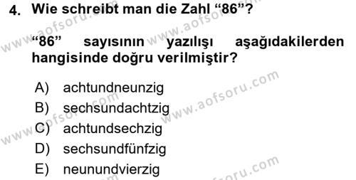 Almanca 1 Dersi 2016 - 2017 Yılı (Vize) Ara Sınav Soruları 4. Soru