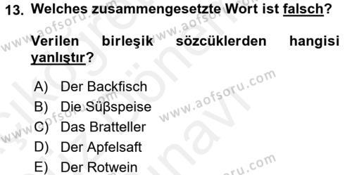 Almanca 1 Dersi Dönem Sonu Sınavı Deneme Sınav Soruları 13. Soru