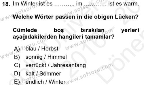 Almanca 1 Dersi Dönem Sonu Sınavı Deneme Sınav Soruları 18. Soru