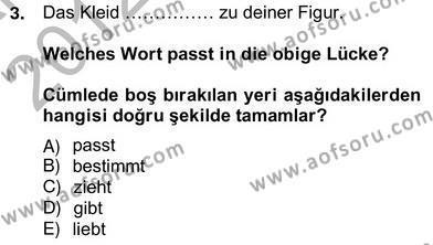 Felsefe Bölümü 6. Yarıyıl Almanca II Dersi 2013 Yılı Bahar Dönemi Ara Sınavı 3. Soru