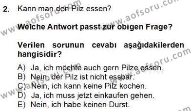 Felsefe Bölümü 6. Yarıyıl Almanca II Dersi 2013 Yılı Bahar Dönemi Dönem Sonu Sınavı 2. Soru
