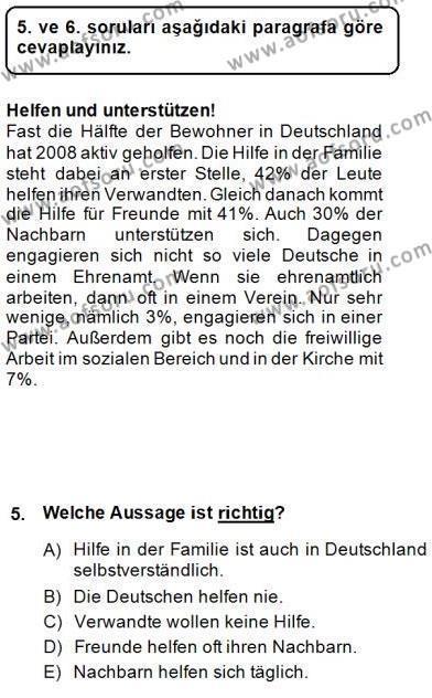 Konaklama İşletmeciliği Bölümü 6. Yarıyıl Almanca II Dersi 2015 Yılı Bahar Dönemi Dönem Sonu Sınavı 5. Soru