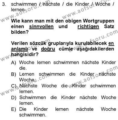 Almanca 3 Dersi 2012 - 2013 Yılı Dönem Sonu Sınavı 3. Soru