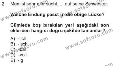 Almanca 3 Dersi 2012 - 2013 Yılı Tek Ders Sınavı 2. Soru